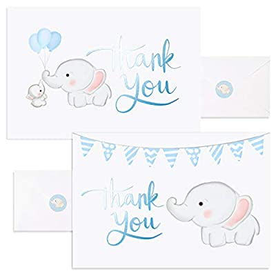 Baby Nest Designs, Baby Shower Thank You Cards Boy. Bulk Set of 50 Elephant Blue Thank You Cards with Envelopes for Small Thank You Notes - Blank Inside Baby Shower Card Pack with Sealing Stickers from Feriga Designs, LLC