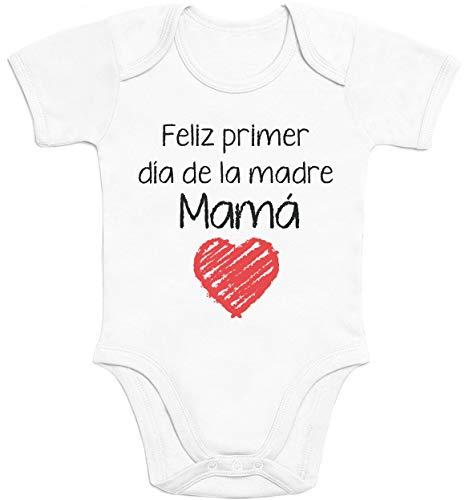 Regalo - Feliz Primer día de la Madre Mamá Body bebé Manga Corta 3-6 Meses Blanco