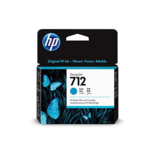 HP 712 Cyan 29 ml Original Druckerpatrone (3ED67A) mit originaler HP Tinte, für DesignJet T650, T630, T250, T230 und Großformatdrucker der Studio-Serie sowie den HP 713 DesignJet Druckkopf