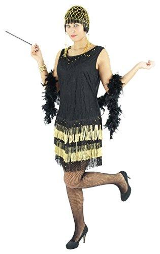 Schwarz goldenes 20er Jahre Kleid mit Fransen für Damen Elegantes Charleston Kostüm zu Fasching und Karneval Größe XXL