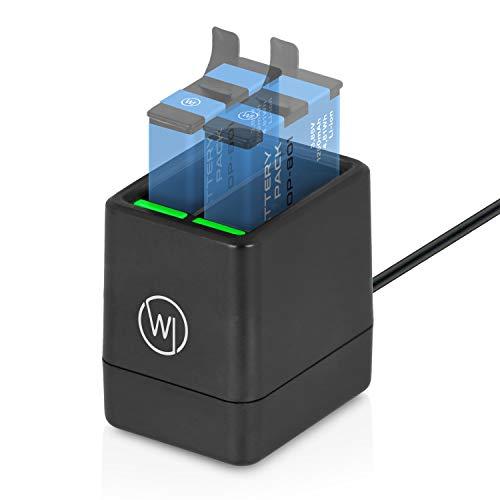 Wicked Chili Dual Ladestation kompatibel mit GoPro Hero8, Hero7, Hero 2018, Hero6 und Hero5 Actioncam Akkus - AHDBT-801 Akku-Ladegerät (2X 1000mA | 4.10V | lädt 2 Akkus gleichzeitig) mit USB C Kabel