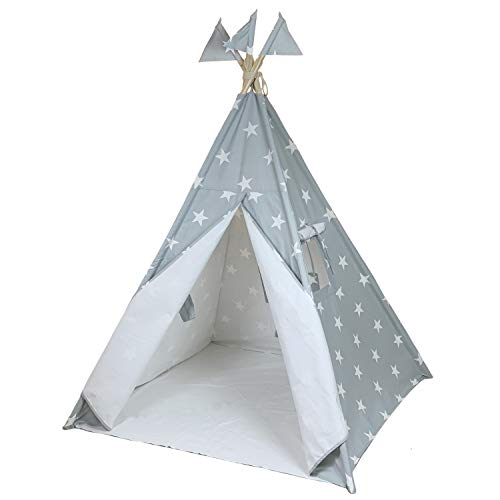 Canicove Teepee Tent for Kids - Award Winning 100% Cotton Play Tent - Large Indoor/Outdoor Tipi for Boys & Girls + Free Fun Flags! (Grey Stars)