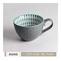 XFHA セラミックハンドペイントコーヒーカップクリエイティブヴィンテージカップカフェパーソナリティ朝食カップカラフルな手描きのティーカップ 美しく実用的 (Color : NO4)