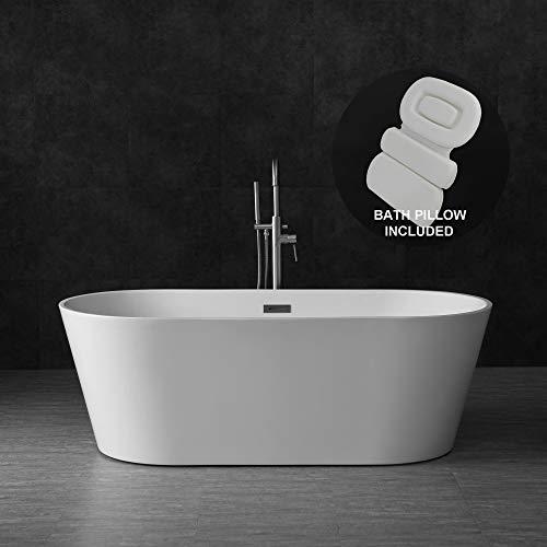 "Woodbridge B-0013/BTA1513 Acrylic Freestanding Bathtub Contemporary Soaking Tub with Brushed Nickel Overflow and Drain BTA1513-B,with Spa Bath, 67"" B-0013 + Pillow"