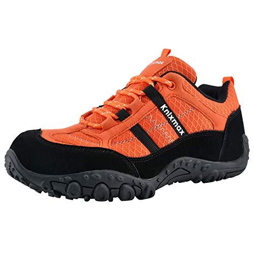 Knixmax - Zapatillas de Senderismo para Mujer, Zapatillas de Montaña Trekking Trail Ligeros Cómodos y Transpirables Zapatillas de Seguridad Low-Top Antideslizante de Deporte, Naranja, EU 39