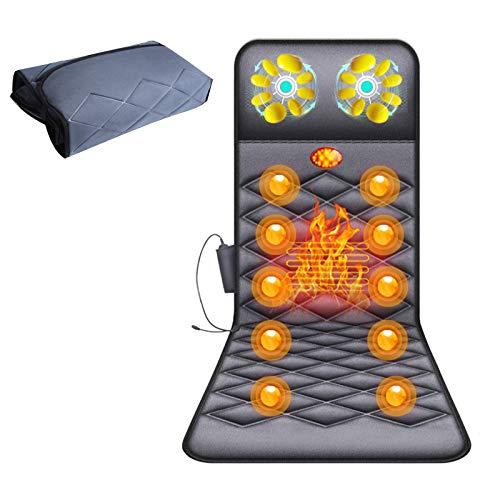 GDAFF Massageauflage mit 16 Hals Shiatsu Massageköpfen Massagematte mit Taillenheizfunktion 10 Vibrationsmotoren Ganzkörpermassage zur Entlastung von Rücken, Taille, Beinschmerzen