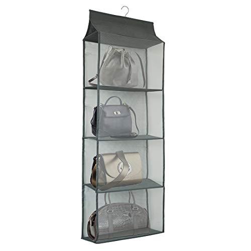 Dearjana Handtaschen-Halter, platzsparend, hängende Handtaschen-Aufbewahrung, Tragetaschen-Organizer, Halter mit 4 großen, strapazierfähigen Netz-Ablagen für den Kleiderschrank (grau)