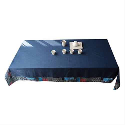 DQGZYF Mantel de algodón de poliéster de Retazos Azul Marino Impermeable y a Prueba de Polvo decoración de Cena de Fiesta en casa 140 * 200 cm
