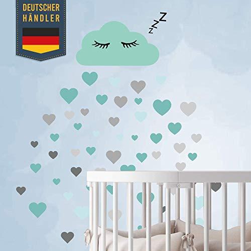 60 pezzi di nuvole con faccia Adesivo murale Set vivaio - Adesivi murali colori pastello Adesivi carta da parati per incollaggio, adesivo da parete Decorazioni murali, bambini piccoli (blu)