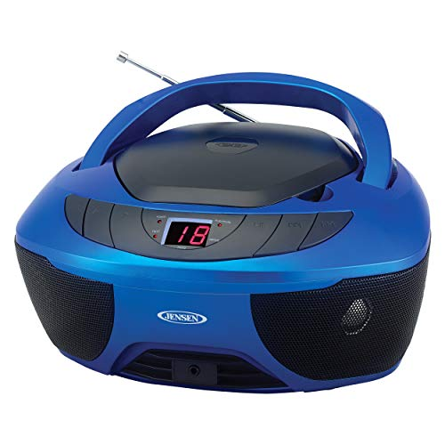 Jensen CD-475B Portable Sport Stereo Boombox CD Player with AM/FM Radio and Aux Line-in & Headphone Jack (Blue)