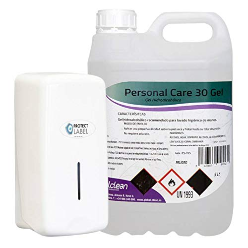 Autolabel Dispensador Jabon Manual Pared Depósito 1000ml. Rellenable + Garrafa 5 litros Hidrogel Ahorro