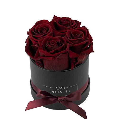 Infinity Flowerbox Small (Schwarz) - 4 echte Premiumrosen in Burgundy