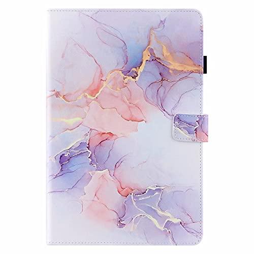 Miagon Tablet Hülle für iPad 10.2 2019/ iPad Pro 10.5/ iPad Air 3,PU Leder Flip Brieftasche Case mit Auto-Einschlaf/Aufwach Standfunktion Stoßfest Cover,Weiß Marmor