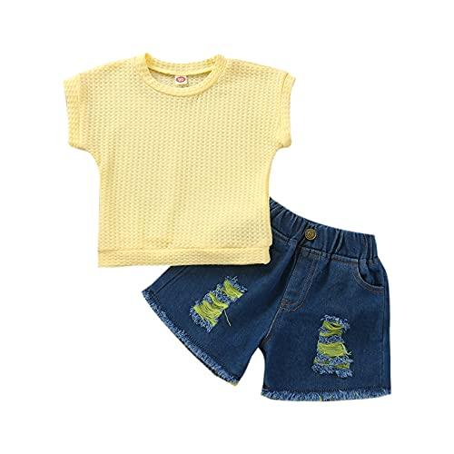 Niños bebés niñas 2 Piezas Traje de Verano Girasol Camiseta de Manga Corta Pantalones Cortos de Mezclilla Rasgados Trajes Casuales Traje (#3-Yellow, 1-2T)