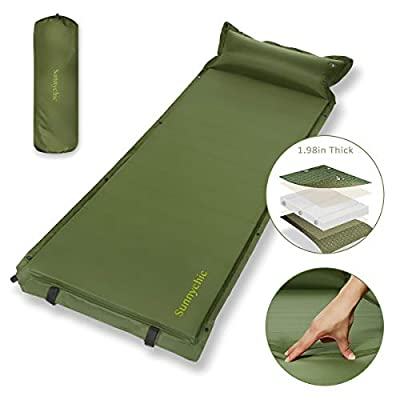 Camping Sleeping Pad, Self-Inflating Sleeping Mat with Pillow, Ultralight Connectable Backpacking Air Mattress Pad, Foam Filling 1.98'' Thick Camping Mat for Outdoor Travel Hiking Family Car