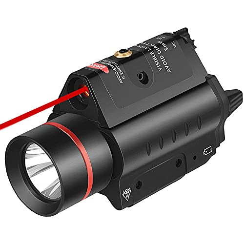 EZshoot 20MM Pistol Red Laser Light Combo, 200 Lumen Laser Handgun Light for Picatinny Rail, LED Tactical Weapon Light with Red Laser, 3 Modes Flashlight Laser Sight for Pistol Handgun Shotgun, RED