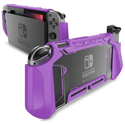 Mumba Dockable Case for Nintendo Switch TPU Grip Protective Cover Case Compatible with Nintendo Switch Console and Joy-Con Controller (Purple)
