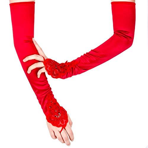 SAVITA Abendhandschuhe Satin Handschuhe Lang Opernhandschuhe Tanzhandschuhe 1920 Handschuhe für Frauen Mädchen (Fingerlose Rot)
