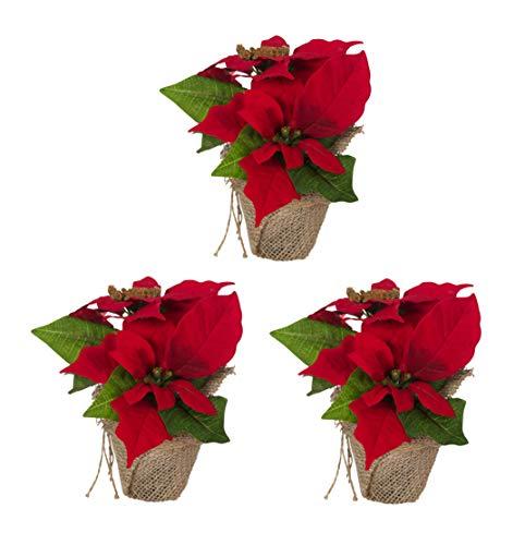 Bambelaa! 3 StückWeihnachtsstern künstlich Fenster naturgetreu Weihnachten Dekoration Weihnachtsdeko (Rot)