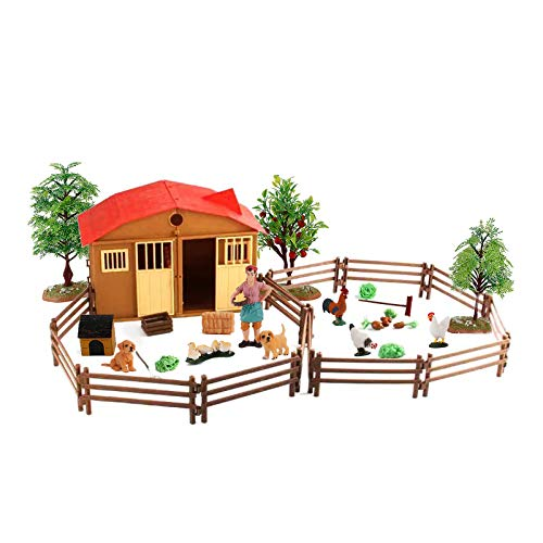 LC JoyCre Farm Animal Model Action Figures Dog Rooster Poultry House Vegetables Figurines Cake Topper Decoration Toys Set Collection for Kid Boys Girls 5 6 7 8 Years Old