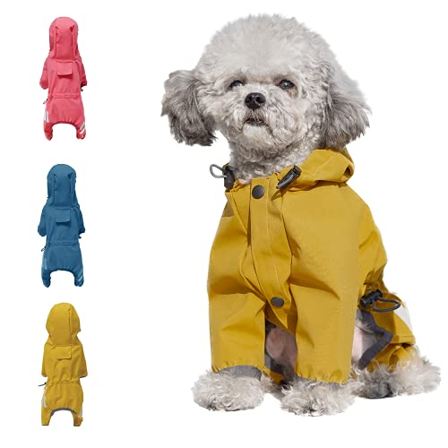 Cosibell Waterproof Puppy Dog Raincoats with Hood for Small Medium Dogs,Poncho with Reflective Strap, Lightweight Jacket with Leash Hole(L, Yellow)