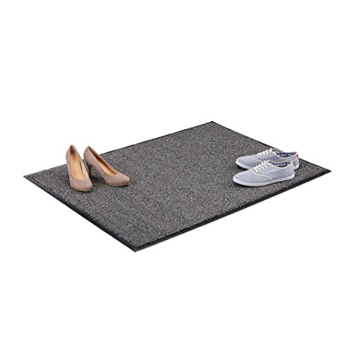 Relaxdays vuilvangmat grijs, voetmat binnen, vuilmat groot, voetmat dun, deurmat 90x120 cm, zwart-grijs