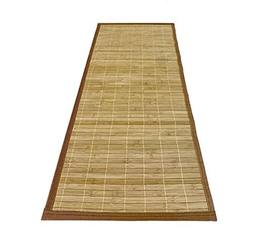 Alfombra Pasillo DE Bambu Ancho 67 cm MARRÓN para DECORACIÓN Antideslizante | Ideal para Salon, Comedor, recibidor (Ancho 67 x Largo 250 cm)