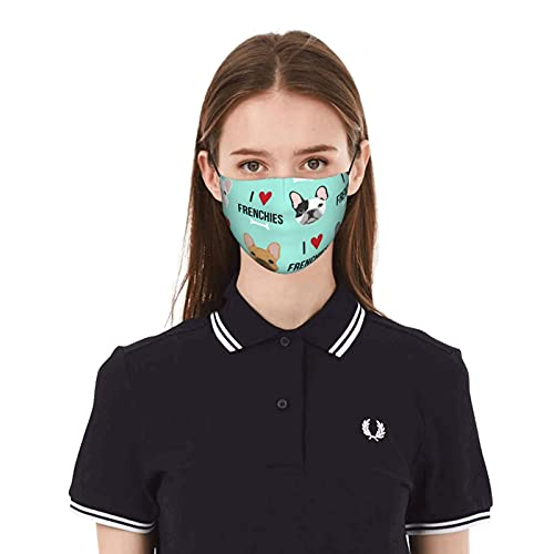 Protective Mask I Love Frenchie Breathable Disposable Cloth Face Masks Resuable Washable Face Mask Man Women Kids