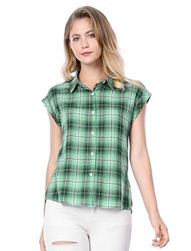 Allegra K Women's Summer Plaid Tops Short Sleeves Button Down Shirt L Green