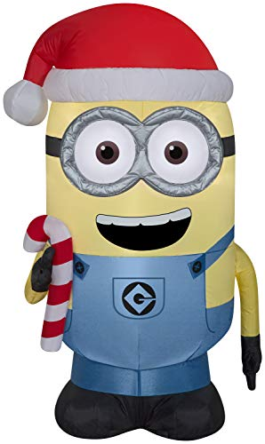 Dave with Candy Cane Minions Christmas Inflatable