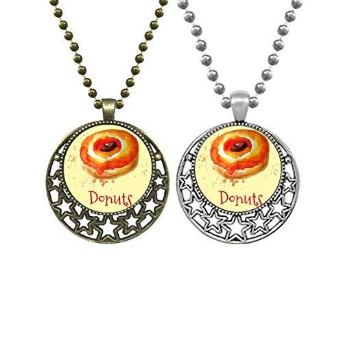 Acuarela pintada a mano naranja donut postre amantes collares colgantes retro luna estrellas joyería