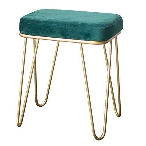 LH-Footstools Arte de Hierro Terciopelo Cojín del Asiento Taburete tapizado otomano, Silla Puff con 4 Patas de Metal para Sala de...