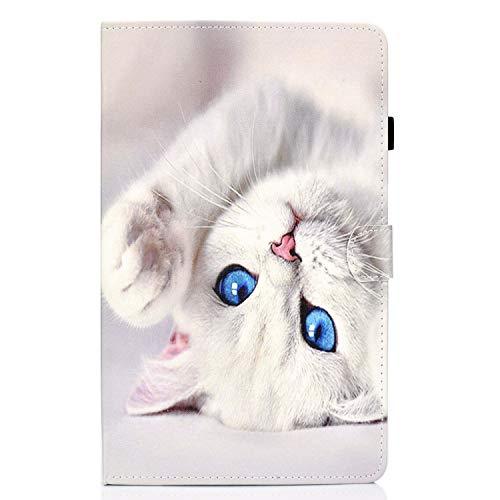 Lspcase Huawei Mediapad T5 10 Hülle PU Leder Brieftasche Tasche Schutzhülle Magnetic Stand Flip Hülle Cover mit Kartenfach für Huawei Mediapad T5 10 10.1 Zoll 2018 - Weiße Katze