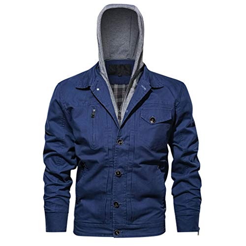 Best Prices! Pumsun Men's Hoodie Outwear Breathable Jacket Coat Long Sleeve Washing Jacket (Blue, XL...