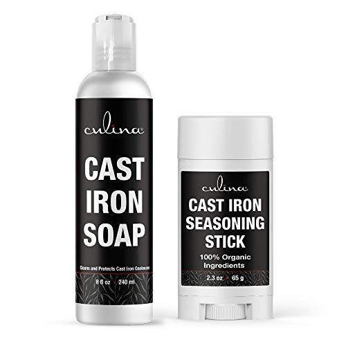 Culina Cast Iron Seasoning Stick & Soap Set | All Natural Ingredients | Best for Cleaning, Non-stick Cooking & Restoring | for Cast Iron Cookware, Skillets, Pans & Grills!…