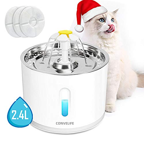 LED Light Pet Fountain Cat and Dog Water Fountain Stainless Steel Top Pet and Cat Water Dispenser Ultra Quiet Water Level Window Water Replaceable Filter Drinking for Cat Water Fountain with Flower
