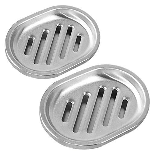 Kaxich 2 Stück Seifenschale, 304 Edelstahl Seifenhalter mit Lächelndes Gesicht, Doppelte Schichten Seifenablage für Dusche, Bad, Küche