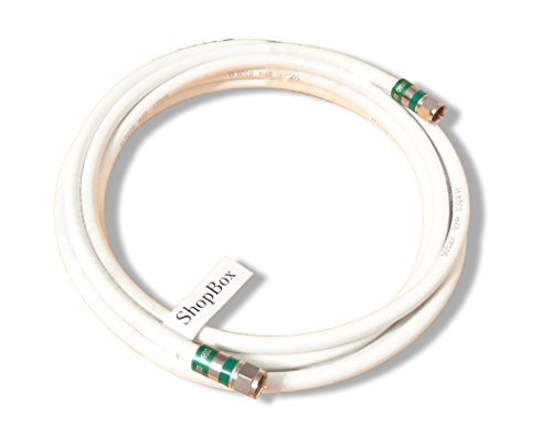 Blanco Quad Shield RG-6Cable coaxial 75Ohm para Cable (CATV, TV por satélite, o Internet de Banda Ancha) (100pies) por shopbox