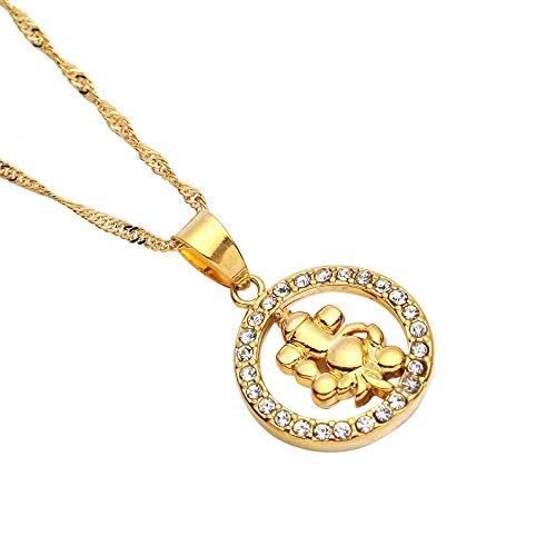 VAWAA Oro Color hinduismo Piedra Colgante Colgante símbolo del hinduismo India Ronda Cadena joyería
