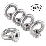 Mengger 16pcs Tuerca elevación m6 tornillo anillo levantamiento de ojos forma hembra 304 de acero inoxidable con rosca para tuercas (B)