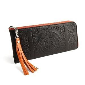 [パッカパッカ] pacca pacca 日本製 馬革 レディース 薄型 長財布 L字 ファスナー ジッパー アラベスク (チョコ×オレンジ)