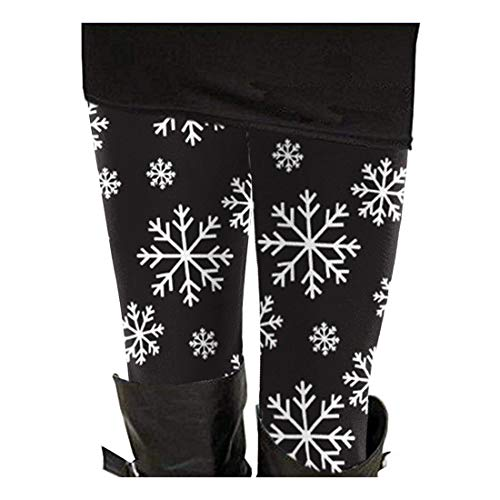 Women's Christmas Day 2019 Reindeer and Snowflake Printed Leggings Aztec Pants M