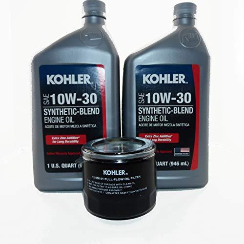 Maintenance (2 Qts) Synthetic Blend 10W30 Kohler Engine Oil & (1) Kohler 12 050 01-S1 Oil Filter