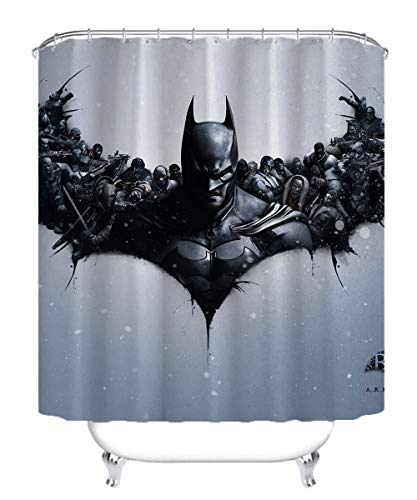 Visionpz Duschvorhang Batman: Arkham Origins The Joker Anti-Mehltau Wasserdichter waschbarer gewichteter Saum, antibakterieller Duschvorhang aus Polyester, Badvorhang mit 12 Ringen 180x180cm