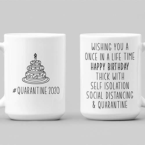 Tamengi Taza de café con cuarentena de cumpleaños feliz cumpleaños 2020, taza divertida de cumpleaños de amigo taza de aislamiento de té, mejor amigo pande cumpleaños