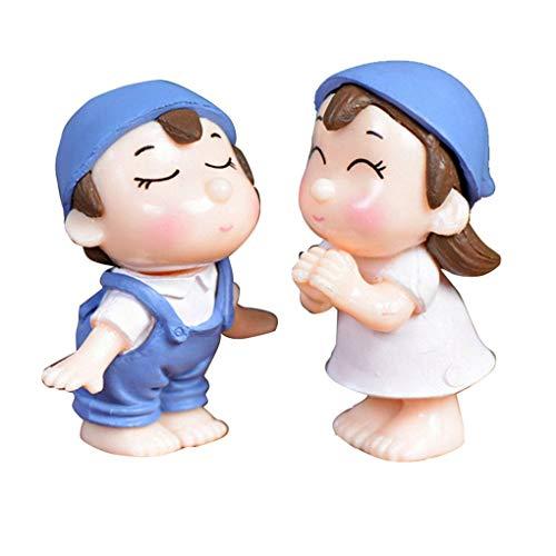 Romántico Sonrisa Parejas Figurines Miniaturas Hada del jardín Adornos PVC Muchacho Lindo y la Muchacha BESA a los Amantes de Las muñecas de la Boda Azul
