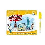 Libro de colorear de agua para niños pequeños, pintura mágica con libros de colorear de agua, libros de actividades de revelación de agua reutilizables, juego de garabatos para niñas y niños para jugu