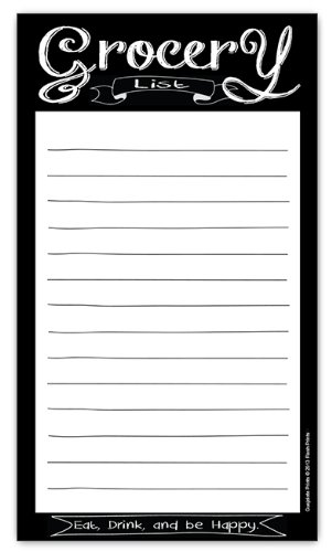 Chalkboard Style Grocery List Magnetic Groceries Pad 4.25 x 7.5, 50-Sheets