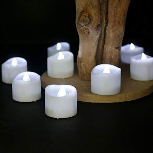 Dszltf LED Kaars, LED Tea Light, Vlamloze Kaars met Timer, automatische modus: Open voor 6 Hours, dicht voor 18 Uren, 3.6X3.6 Cm, [12 Pieces, White Flash]