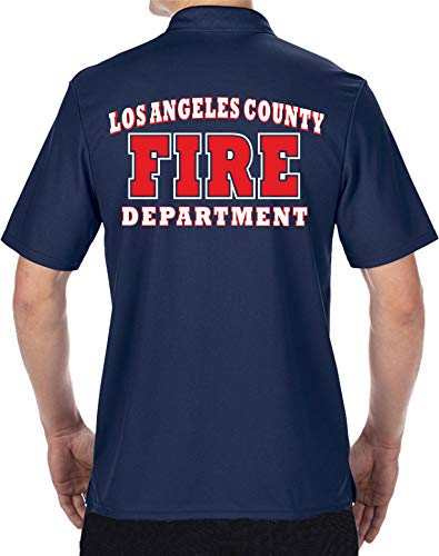 feuer1 Polo Fonctionnel Navy, Los Angeles County Fire Department Blanc/Rouge L Bleu Marine